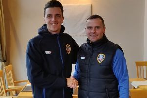 Jamie Glackin with Coleraine manager Rodney McAree