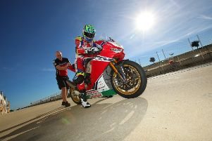 Andrew Irwin gets ready for first test on the new Honda superbike.