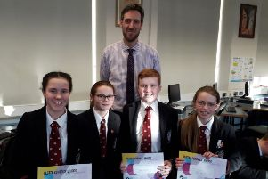 Hannah Taylor, Erin Hoban, Anna Lennox and Callum Winsby took part in the novice section of the Ulster Schools' Teams competition.
