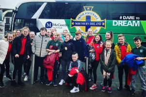 Whitehouse Primary School pupils arrived in style for the taster event at Carrickfergus Academy.