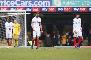 Pompey dejected after conceding at Southend. Picture: Joe Pepler