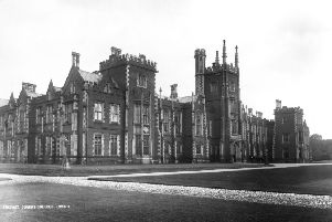 circa 1900:  The victorian gothic facade of Queens College at Belfast.  (Photo by London Stereoscopic Company/Getty Images)