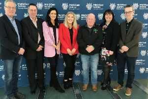 Sinn F�in MLA Gerry Kelly, Michelle Gildernew MP, North Antrim MLA Philip McGuigan accompany Sinn F�in's four council candidates, James McKeown,Collette McAllister, Patrice Hardy and Ian Friary, as they hand in their nomination papers.