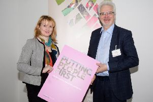 Katrina Morgan, council's director of community and Hugh Nelson, Northern Health and Social Care Trust