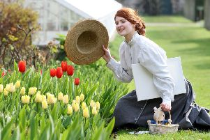 Getting ready for a visit from the official Peter Rabbit(TM) at the 12th  annual Tulip Festival,  May  4-6 at Glenarm Castle was Sophie Murphy, in a style reminiscent of Beatrix Potter; illustrator, botanist and author of the world famous Peter Rabbit stories. Pic: Paul Faith