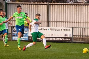 Bognor's Joe Tomlinson in action against Dorking earlier in the season / Picture by Tommy McMillan