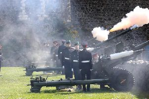 Carrickfergus Castle was the perfect backdrop for the 21-gun salute.  Picture: Paul Faith