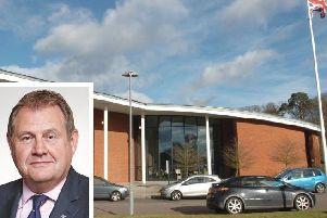Ex-Cllr Richard Stay (inset), CBC head offices at Chicksands