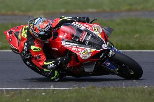 Alastair Seeley had his first full test on the PBM Be Wiser Ducati V4-R at Kirkistown on Sunday. Picture: Stephen Davison/Pacemaker Press.
