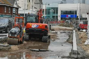 The site of the road works and burst main in Cornfield Road