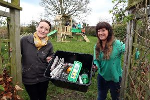 Claire McCallum, Communications Manager at Bryson Recycling, is pictured with Sarah Logue, Activity Worker at MACS.