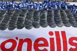 The Walled City Marathon medals at the finishing line.