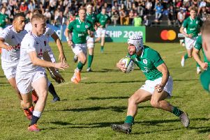 Ulster and Ballynahinch fullback Iwan Hughes in action for Ireland against England