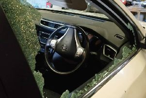 The car damaged near Lurgan in the early hours of Tuesday (June 11). Police image.