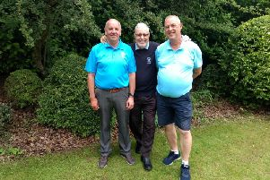 Whitefields Seniors Championship runner-up Paul Wilson, winner Club President Phil Dobb and third-placed Ellis Roberts