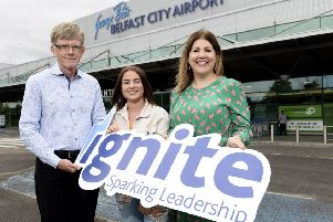 Larne student Olivia Millar with Jay Roewe, Senior Vice-President of HBO and Michelle Hatfield, Director of Corporate Services at George Best Belfast City Airport.