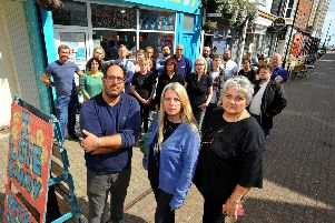 Worthing traders anger at outdoor seating licence. Front row, trader and TCI members Andy Sparsis, Samantha Whittington, and Diane Guest TCI chair. Pic Steve Robards