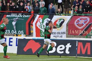 Marcus Kane celebrates his goal for Glentoran against Larne on Saturday. Pic by Pacemaker.
