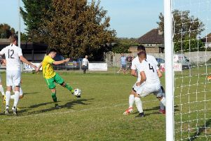 Morgan Forry fires in an equaliser for Sidlesham - before Kennington beat them in extra-time / Picture by Kate Shemilt