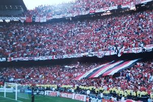 Big Lily in Nou Camp Barcelona the night Manchester United won the Treble