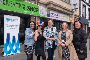 The Mayor of Mid and East Antrim Borough Council (Centre) is delighted to welcome the Big Telly Creative Theatre Company back to Carrickfergus.