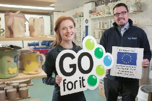 Natasha Swan and Alan Hamilton, business advisor, Carrickfergus Enterprise.