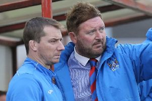 John Bailie (left) and Niall Currie during time together at Ards. Pic by Pacemaker.