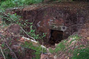 Remains of a typical operational base in dense woodland