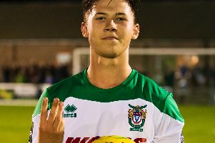 Bognor Regis Town's hat-trick hero Tommy Scutt. Picture by Tommy McMillan
