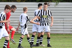 James Hill-Seekings (right) scored twice for Peterborough Northern Star at Potton.