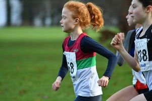 Isla McGowan on her way to fourth place for Banbury Harriers
