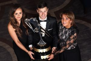 World Superbike champion Jonathan Rea, who won the Cornmarket Irish Motorcyclist of the Year award for the fourth successive time, pictured with William Dunlops partner Janine and mum Louise.