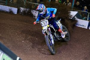 Glenn McCormick in action at the SSE Arenacross UK meeting .