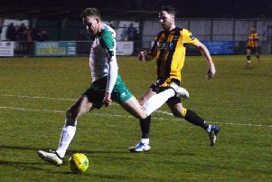 Jimmy Wild shoots at goal as Bognor turn the screw against East Grinstead / Picture by Darren Crisp