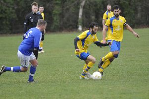 Bexhill Rovers on the ball during their cup victory over St Leonards Social II. Pictures by Simon Newstead