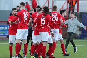 Celebration time for Larne in the Irish Cup success over Crumlin Star. Pic by INPHO.