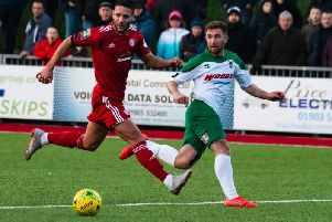 Theo Widdrington in action for Bognor at Worthing / Picture by Tommy McMillan