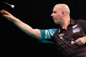 Rob Cross at the oche during his 7-4 win against James Wade in Glasgow. Picture courtesy Steve Welsh/PDC