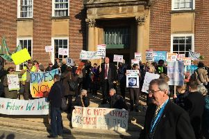 Protesters today outside county hall