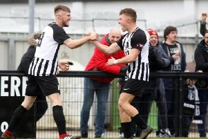 Connor Kennedy and Jordon Crawford celebrate the former's goal, which proved to be the winner as Corby Town beat Didcot Town 3-2 at Steel Park. Pictures by Alison Bagley