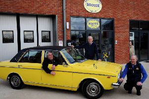 Rootes Archive Trust, Wroxton. From the left, Trustees, Nick Harrison, Andy Bye and James Spencer, with a 1976 Humber Sceptre. NNL-191202-164813009