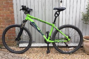 Huw's 'lovely apple green' mountain bike
