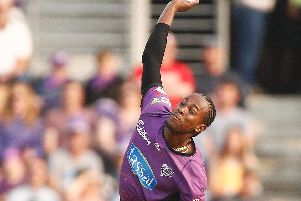 Jofra Archer in action for the Hobart Hurricanes / Picture by Getty Images