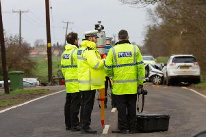 Police at the scene of the crash in Whittlesey today. Photo: Terry Harris