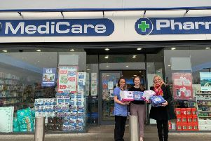 Councillor Sandra Duffy with Laura McLaughlin Medicare and Emma Hegarty Pre Reg Pharmacist