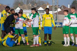 Things get feisty during the Rocks-Haringey game / Picture by Darren Crisp
