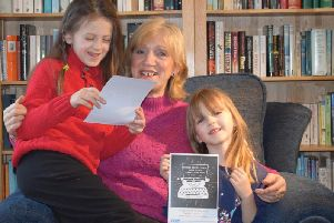 Julia Macfarlane with grandchildren Alice and Naomi
