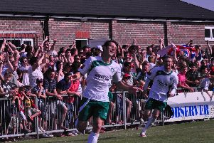 Jason Prior scores in an April 2011 win for the Rocks at home to Worthing / Picture by Tommy McMillan