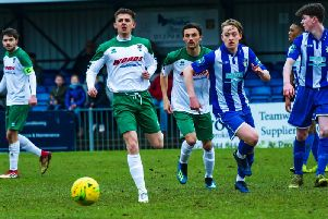 Doug Tuck on the ball for the Rocks at Bishop's Stortford a fortnight ago / Picture by Tommy McMillan