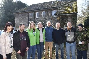 Staff, volunteers and 'guests' outside the Garden House in the Cathedral Precincts, which receives donations from the Safer Off The Streets partnership